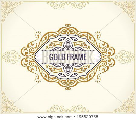 Calligraphic Luxury frame. Flourishes whiskey and vine packing bottle. Royal vintage gold logo, Emblem design. Decor for menu card, invitation label, Restaurant, Cafe, Hotel. Vector line illustration