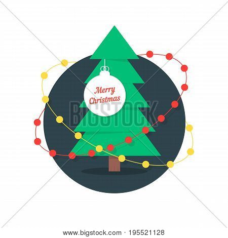 merry christmas with xmas tree and garlands. concept of fur-tree branch, christmas tree template, tradition toy. isolated on white background. flat style trend modern logo design vector illustration