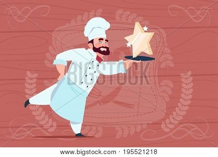 Chef Cook Hold Star Award Smiling Cartoon Restaurant Chief In White Uniform Over Wooden Textured Background Flat Vector Illustration