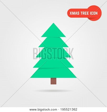 green xmas tree icon with shadow. concept of spruce, family event, x mas tree, nativity, yule. xmas tree isolated on gray background. flat style trend modern logo design xmas tree vector illustration