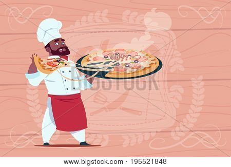 African American Chef Cook Holding Plate With Hot Soup Smiling Cartoon Chief In White Restaurant Uniform Over Wooden Textured Background Flat Vector Illustration