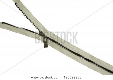 Zipper isolated on white background with clipping path