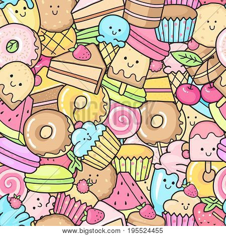Seamless background of sweet and dessert doodle. Pattern wiht cute cake, sweet donat, cartoon cookies and macaron