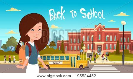 Girl Going Back To School Over Group Of Pupils Walking From Yellow Bus Primary Schoolchildren Students Flat Vector Illustration