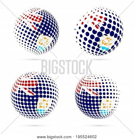 Anguilla Halftone Flag Set Patriotic Vector Design. 3D Halftone Sphere In Anguilla National Flag Col