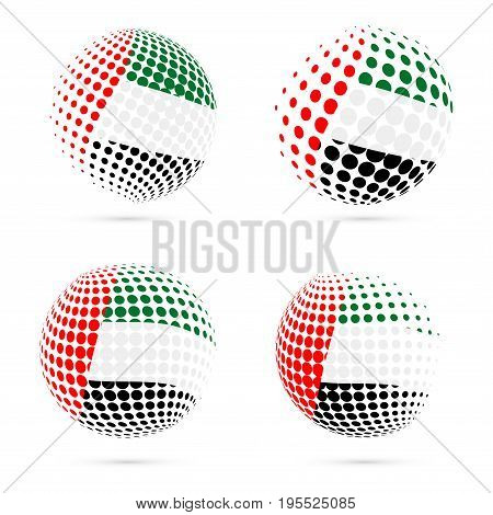Uae Halftone Flag Set Patriotic Vector Design. 3D Halftone Sphere In Uae National Flag Colors Isolat