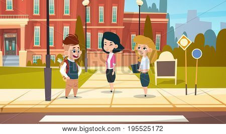 Group Of Pupils Stand In Front Of School Building Primary Schoolchildren Talking Students Flat Vector Illustration