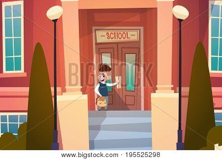 Boy Opening School Door Pupil Go To Classroom In Autumn Flat Vector Illustration