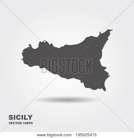The Italian island of Sicily. Vector map