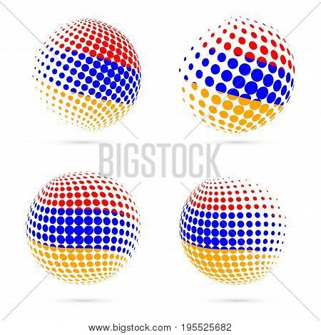 Armenia Halftone Flag Set Patriotic Vector Design. 3D Halftone Sphere In Armenia National Flag Color