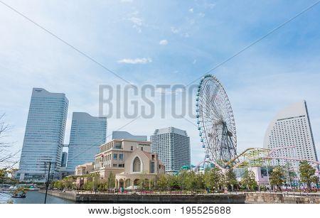 Tokyo Japan - May 6 2017: Yokohama Cosmo world Amusement park in Yokohama Bay.