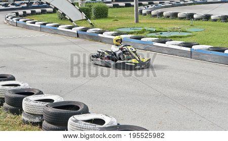 Go kart racer on the outdoor track