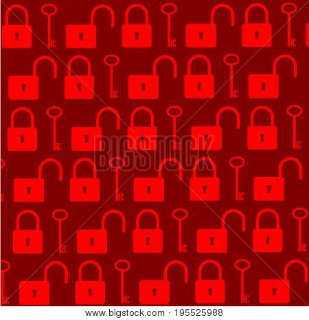 Key and lock vector pattern , Red background