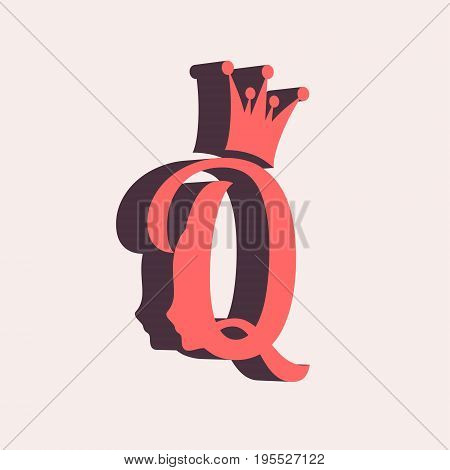 Vintage queen silhouette. Medieval queen profile. Elegant outline silhouette of a female head. Isometric icon. Royal emblem with Q letter