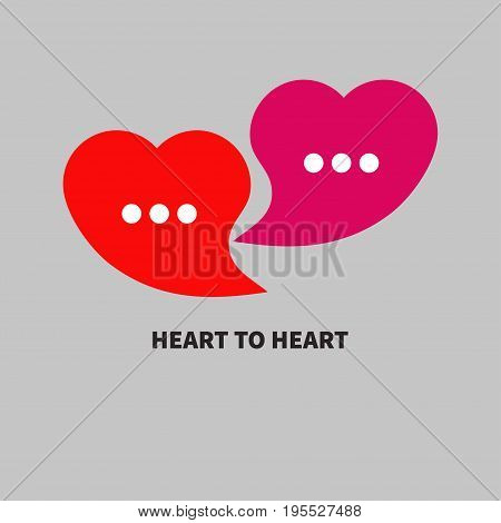Logo love chat. Two bubbles in the shape of heart. Icon of dialog, online communication. Vector illustration