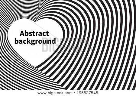 Optical illusion - background with heart stripes. Vector illustration