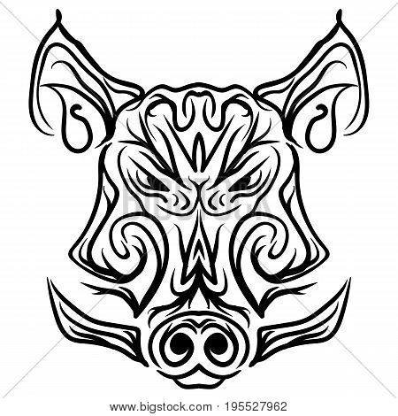 Patterned Boar head on background Black and white Isolated Tattoo Tribal pattern vector illustration