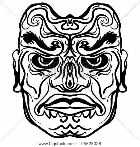 Tattoo design of tribal mask vintage engraved illustration. Demon mask sketch tattoo