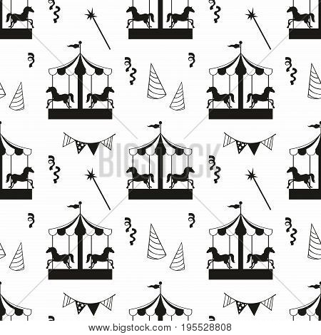 Carousel. Vector seamless pattern with carousel for design and decoration of textiles covers wallpaper children's clothing banners packaging and wrapping paper
