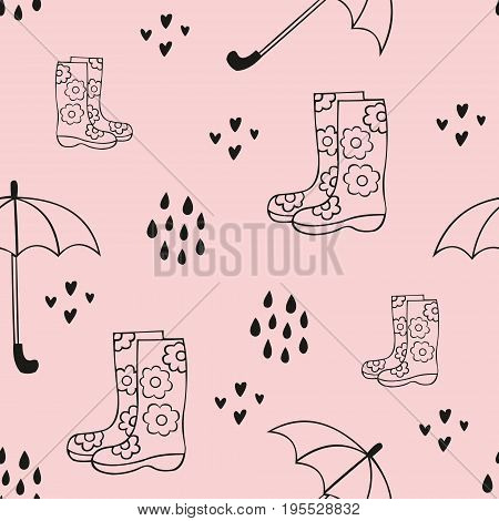 Rain. Cute seamless pattern with rubber boots and an umbrella. Vector decorative background for design of fabric home textile children's clothing wallpaper children's room decoration packaging design