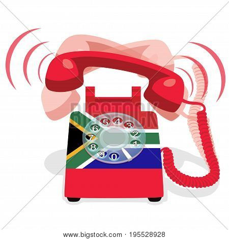 Ringing red stationary phone with flag of Republic of South Africa. Vector illustration.