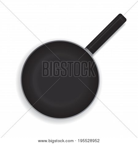 Realistic frying pan on a white background. Black frying pan with a handle for cooking. View from above. Vector illustration.