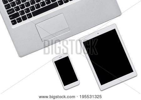Laptop Computer, Tablet And Cell Phone Isolated On White Background With Copy Space For Your Adveris