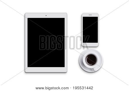 Modern White Tablet, Cell Phone And Cup Of Coffee Isolated Over White Background. Electronic Devices