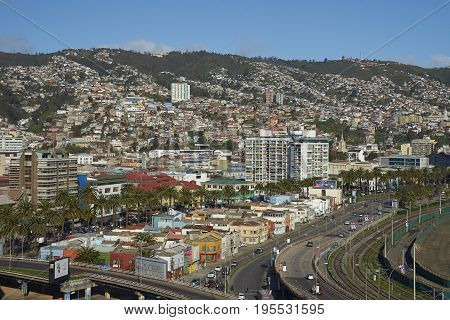 VALPARAISO, CHILE - July 14, 2017: View across the UNESCO World Heritage City of Valparaiso in Chile from Mirador Baron.