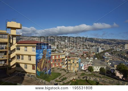 VALPARAISO, CHILE - July 14, 2017: View across the UNESCO World Heritage City of Valparaiso in Chile from the Baron area of the city.