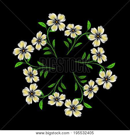 Embroidered white flowers on black background. Vector embroidered floral template with flowers for clothing design.