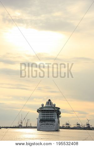 Velsen the Netherlands May 1st 2017: Royal Caribbean Serenade of the Seas on North Sea Canal from Amsterdam towards the Ijmuiden sea lock