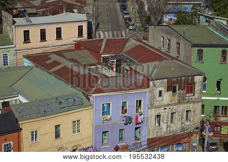 VALPARAISO, CHILE - July 14, 2017: Colourful houses in the City of Valparaiso in Chile.