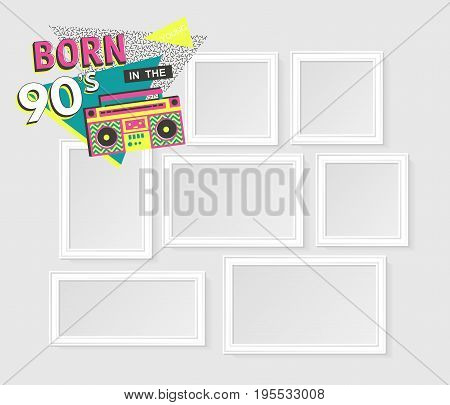 Template vector photo frames on white background with images. Back to the 90 s. Disco elements.