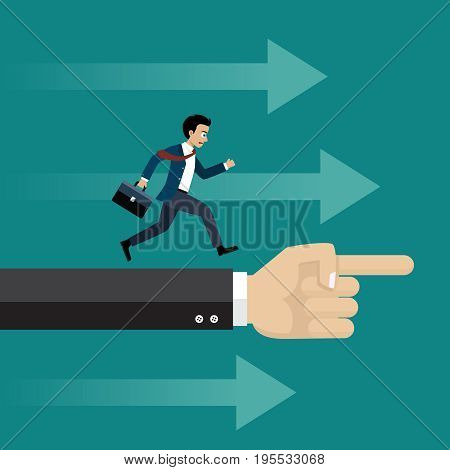 Businessman running in the same direction with big hand pointing to. Business concept in leadership.