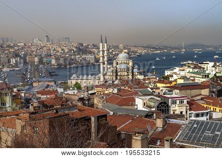 Panorama Of The Bosporus And Parts Of Istanbul And Golden Horn Bay