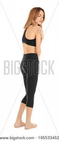 Young woman suffering from pain on white background. Concept of orthopedist
