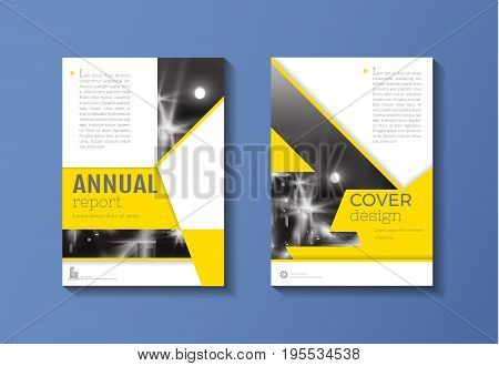 Yellow cover book Brochure template design annual report magazine and flyer layou Vector illustration a4