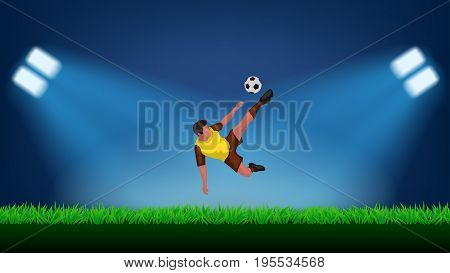 illustration of soccer football player kicking ball in the air at stadium