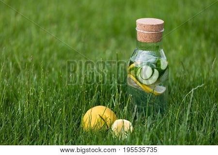A glass decanter with a summer refreshing lemonade made of lemons and cucumber with mint added on a green grass background. Detox water. Ingredients. Cleaning the body of toxins, vitamins