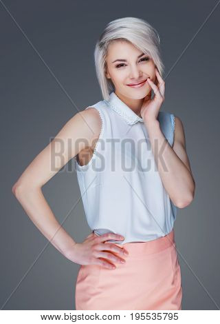 bautiful young smiling woman, isolated