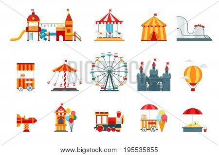 Amusement park vector flat elements, fun icons, isolated on white background with ferris wheel, castle, attractions, circus, air balloon, swings, carousel. Architecture entertainment elements vector.