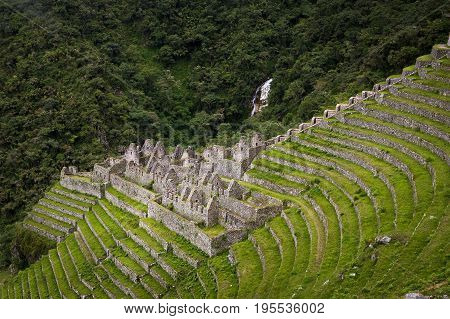 The Inca ruins of Winay Wayna along the Inca Trail to Machu Picchu in Peru; Concept for travel in Peru