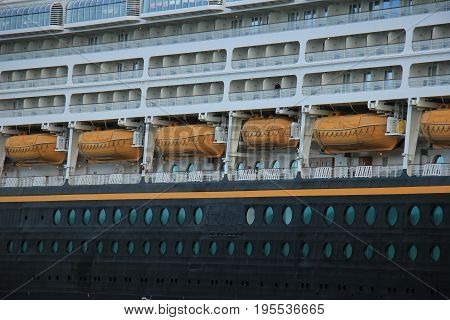 Velsen the Netherlands - June 27th 2017: Disney Magic on North Sea Canal detail of cabins and lifeboats