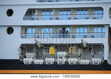 Velsen the Netherlands - June 27th 2017: Disney Magic on North Sea Canal detail of ship