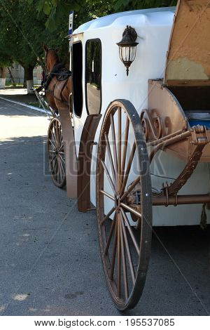 Details of vintage horse-drawn carriage on the street