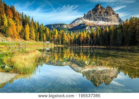 Majestic autumn landscapealpine glacier lake and yellow pine trees Antorno lake with famous Tre Cime di Lavaredo peaks in background Dolomites Italy Europe