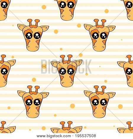 Cute kids pattern for girls and boys. Colorful giraffe on the abstract background create a fun cartoon drawing. The background is made in pastel colors. Urban backdrop for textile and fabric.