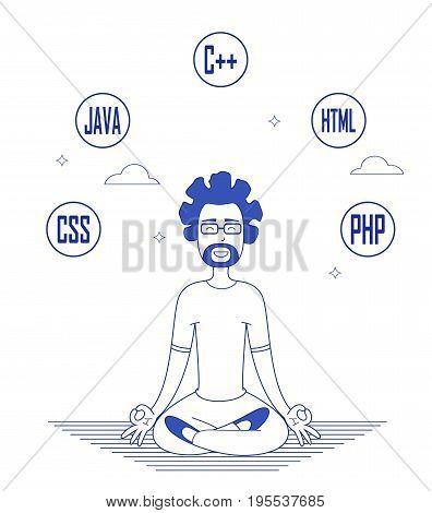 Programmer in glasses sitting in meditation. Vector concept illustration