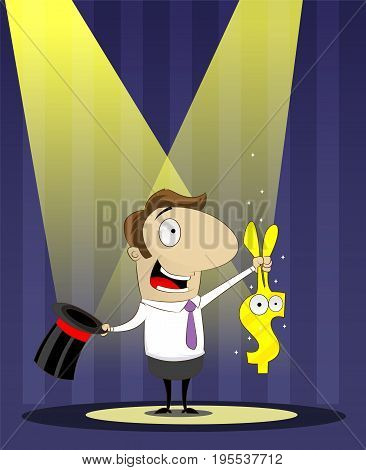 Banker as magician pulls a rabbit out of hat. Crediting, lending, investing concept illustration. Cartoon vector